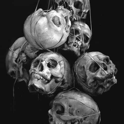paint skull dark yanjun cheng illustration art bw