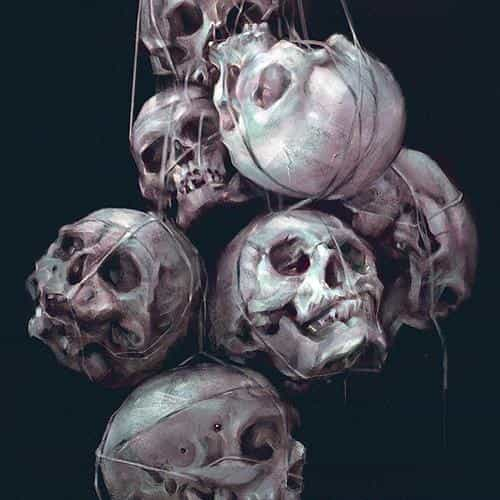 paint skull green dark yanjun cheng illustration art
