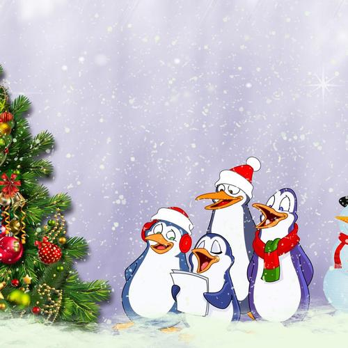 Penguins sing around the Christmas Tree