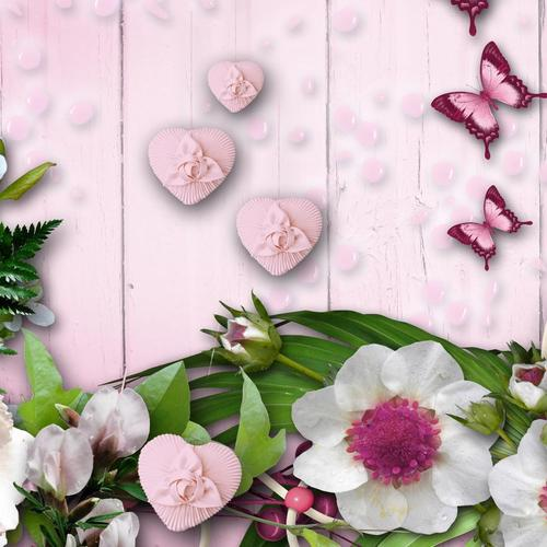 Pink background with flowers and butterflies wallpaper