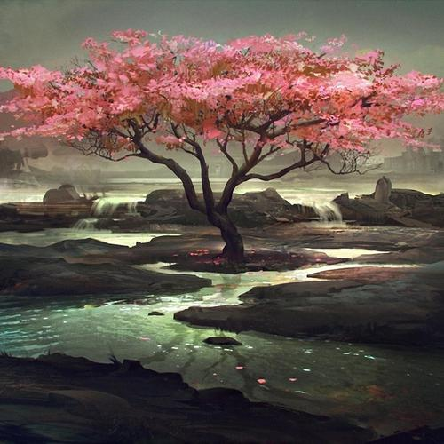 Pink tree painting wallpaper