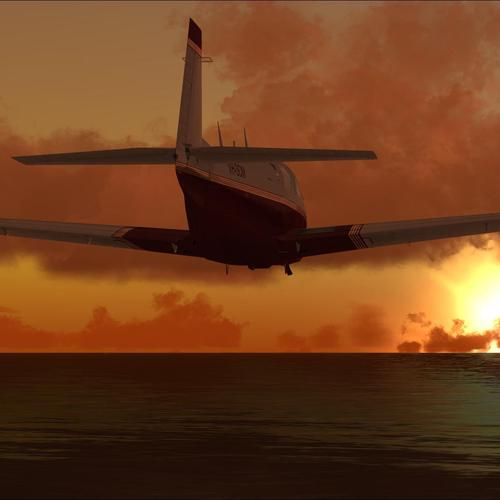 Plane taking off head to the sun wallpaper
