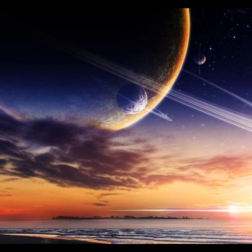 Planets over the beach wallpaper