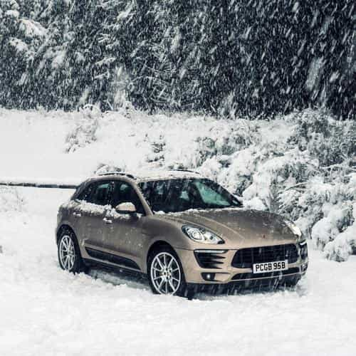 porche winter snow car