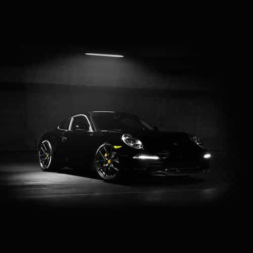 porsche illustration art super car black dark yellow