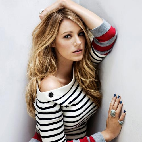 Pretty Blake Lively in striped sweater wallpaper