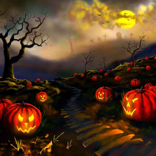 Pumpkins on the death field wallpaper