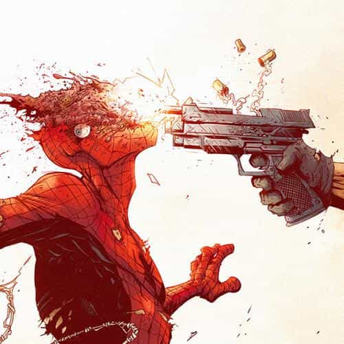 punisher spiderman tonton revolver illustration art