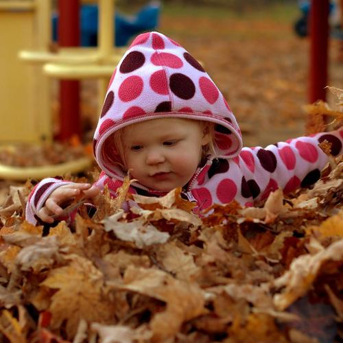 Pure Childish playing with autumn leaves