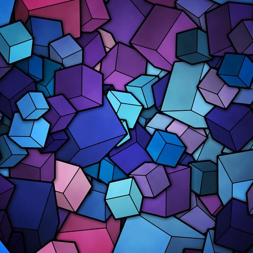 Purple and blue cubes wallpaper