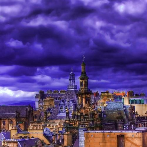 Purple city rooftops Hdr wallpaper