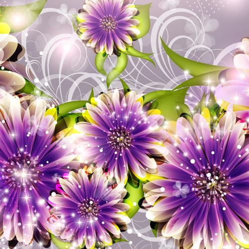Purple flower 3D design wallpaper
