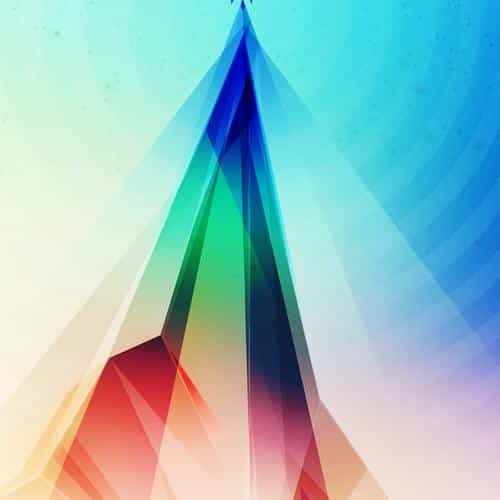 rainbow blue tower graphic digital pattern
