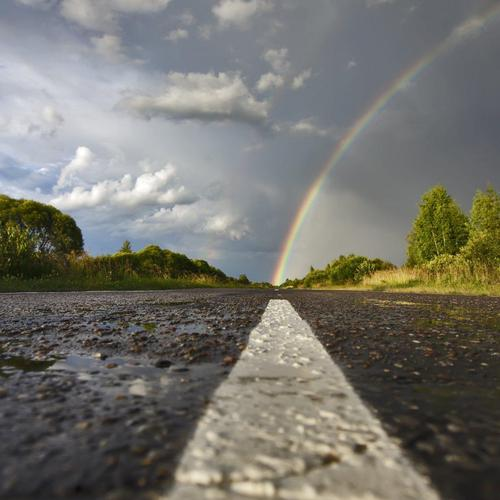 Rainbow on the road wallpaper