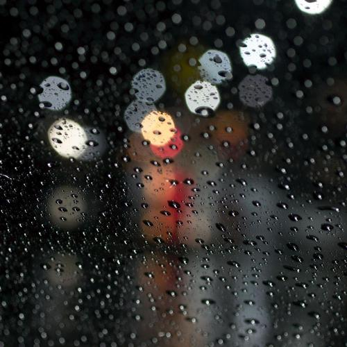 Raindrops in the glass surface