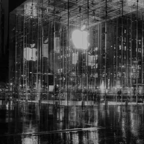raining apple store newyork at night dark