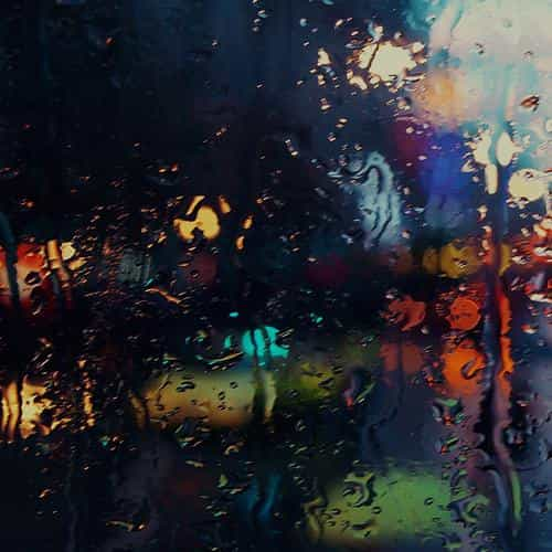 raining back car window gloomy dark street