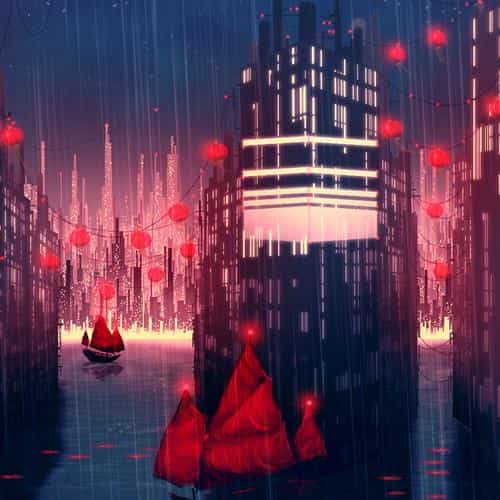 rainy anime city art illust