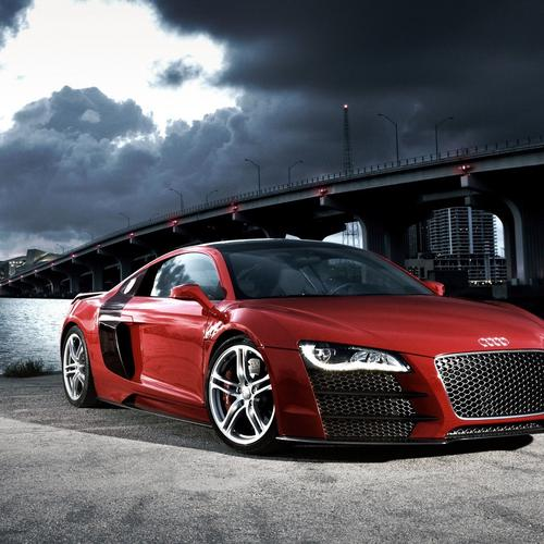 Red audi in the habor
