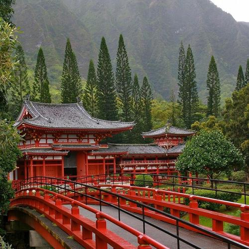 Red bridge at Japanese Temple wallpaper