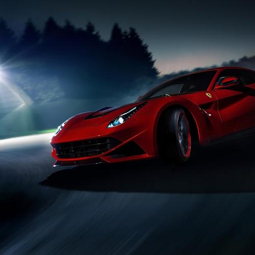 Red ferrari on the night wallpaper