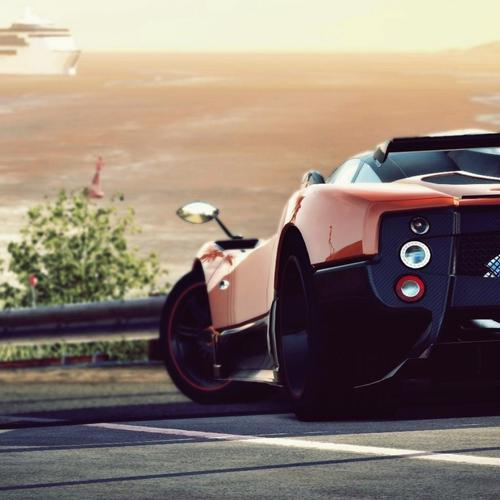 Red Pagani Zonda back wallpaper