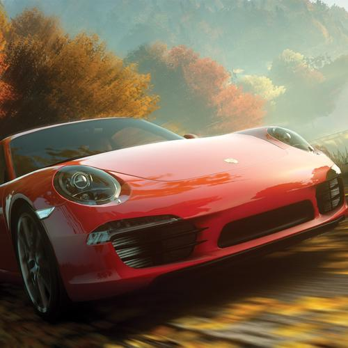Red Porsche speed up wallpaper