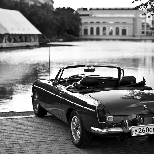 Retro Sulfur Convertible Car black and white