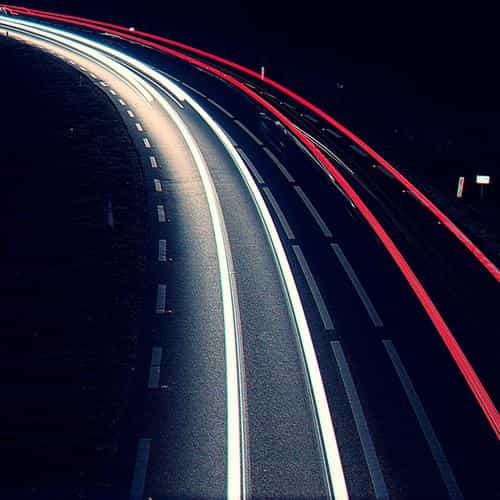 road night car street light blue dark
