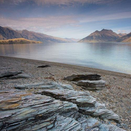 Rock Textures On A Fjord Beach In New Zealand wallpaper