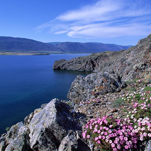 Rocky Shoreline On Barakchin Isl In Lake Baikal