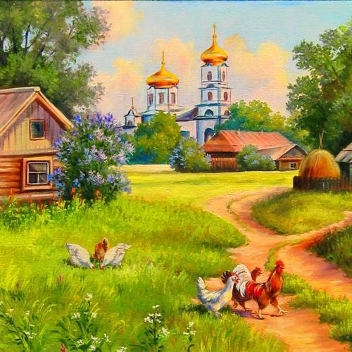 Rustic Paradise painting wallpaper