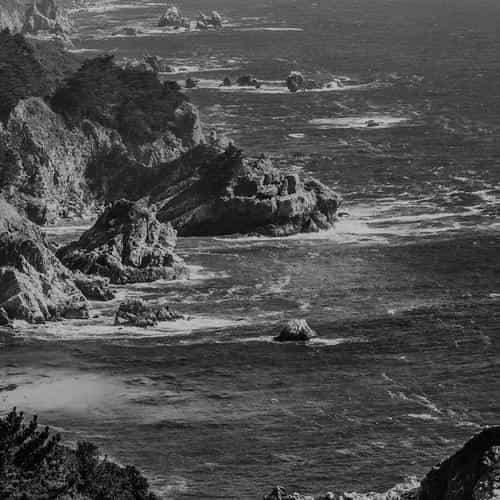 sea ocean rock nature mountain summer dark bw