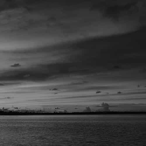 sea port night sunset summer dark bw