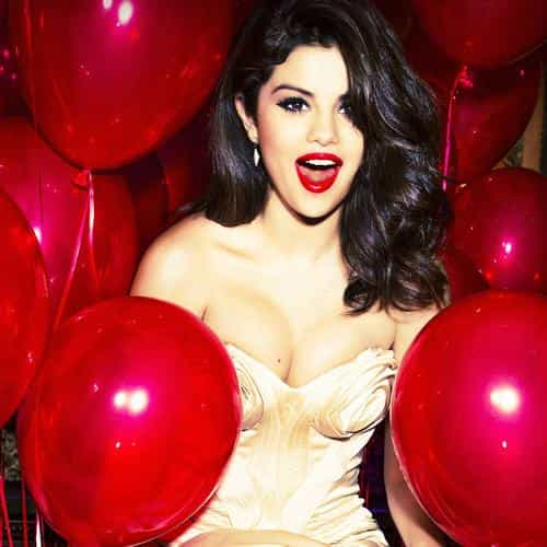 selena gomez red dress balloon party