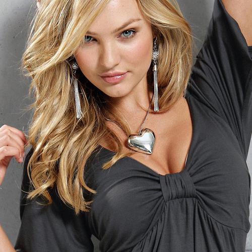 Sexy Candice Swanepoel in grey dress