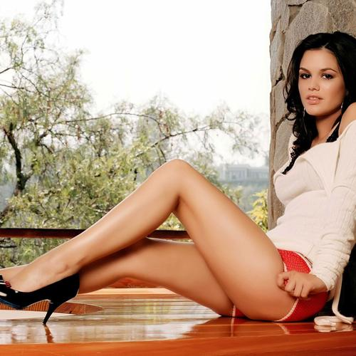 Sexy Rachel Bilson with high heels shoes and white sweater wallpaper