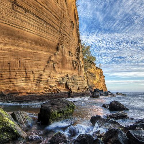 Sheer cliff by the seashore Hdr
