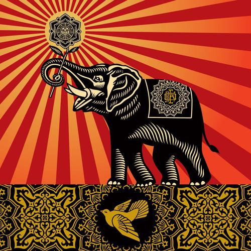 Shepard Fairey Elephant wallpaper