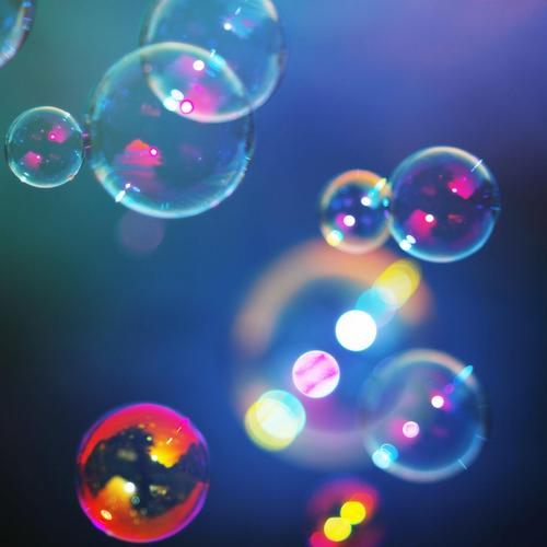 Shimmering colorful bubbles