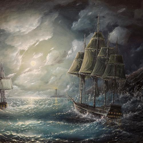Ship in storm painting wallpaper