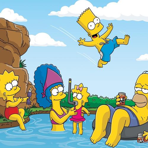 Simpsons family playing on swimming pool wallpaper