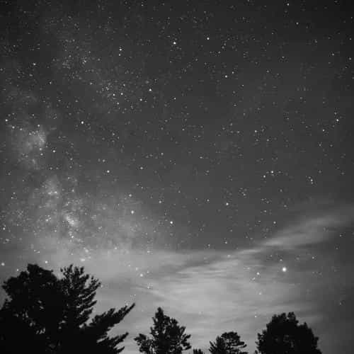 sky night star dark mountain cloud vignette bw