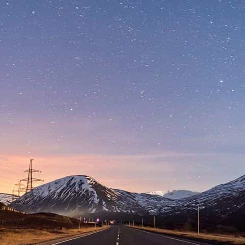 sky star lovely road street mountain winter nature