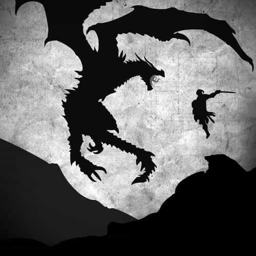 skyrim dragon illustration art bw