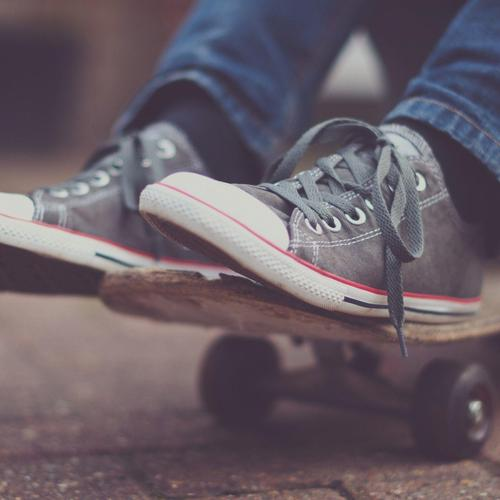 Sneakers on a skateboard