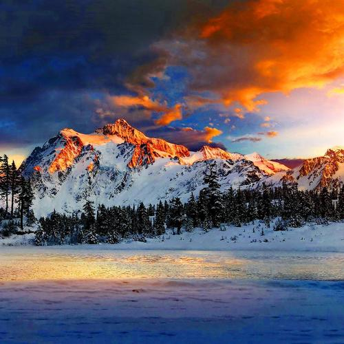 Snow mountains at sunrise wallpaper