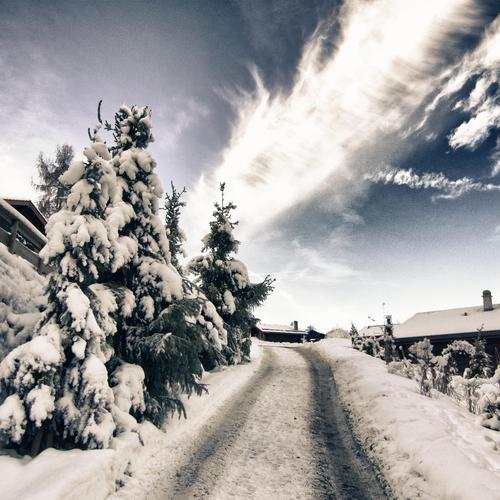 Snow road in Switzerland wallpaper