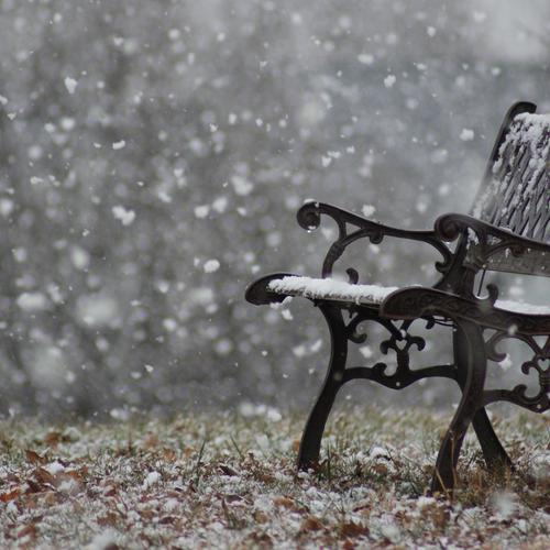 Snowy bench in winter wallpaper