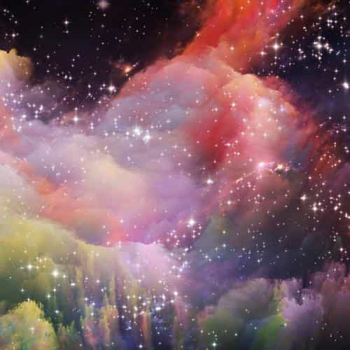 space rainbow colorful star art illustration